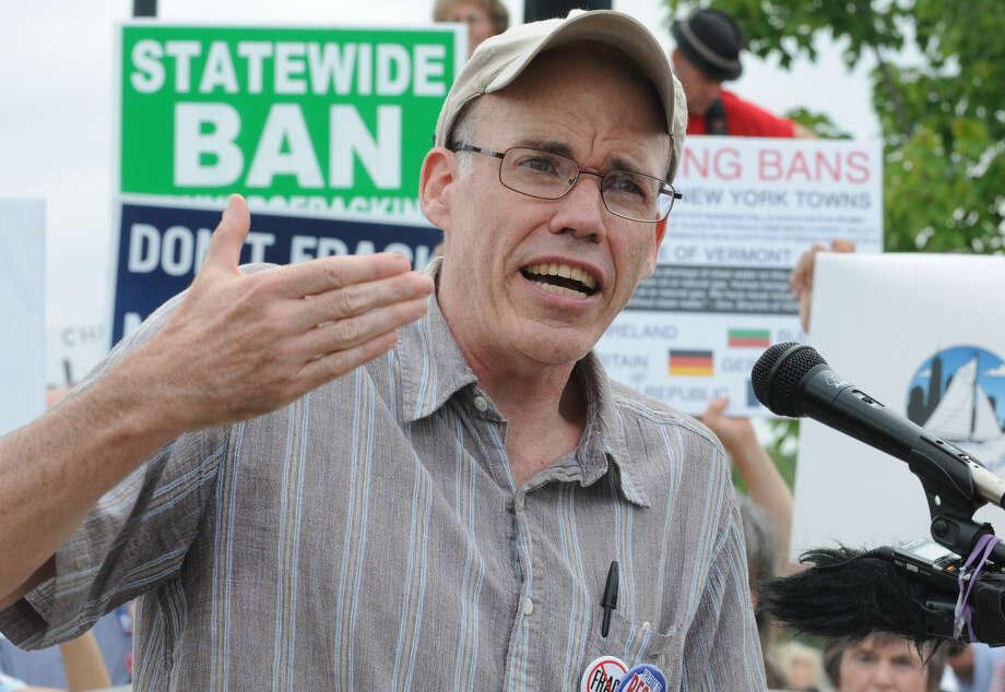 Bill McKibben, author, educator, and environmentalist, speaks during an anti-fracking rally Monday at the Corning Preserve in Albany. (Lori Van Buren / Times Union) Photo: Lori Van Buren