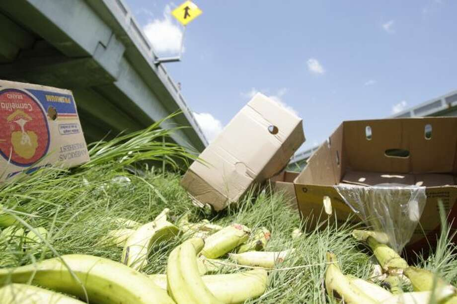 Overturned 18 wheeler on the 59 North feeder from I 10 lost part of its load of bananas and plantains Monday, Aug. 27. Photo: Melissa Phillip, Houston Chronicle Photo: Melissa Phillip