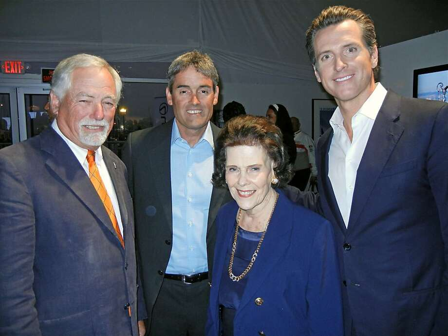 America's Cup Organizing Committee Chairman Mark Buell (left), skipper Russell Coutts, leader Lucy Jewett and Lt. Gov. Gavin Newsom. Photo: Catherine Bigelow, Special To The Chronicle