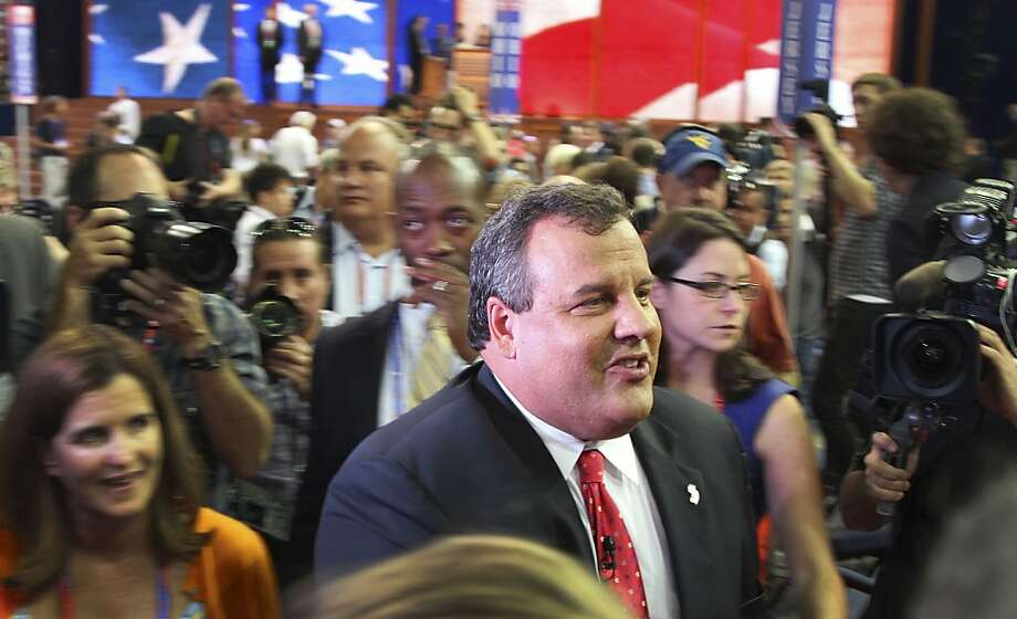 New Jersey Gov. Chris Christie tours the convention floor before the opening session of the Republican National Convention in Tampa, Fla., Monday, Aug. 27, 2012. (AP Photo/Ben Kesling) Photo: Ben Kesling, Associated Press