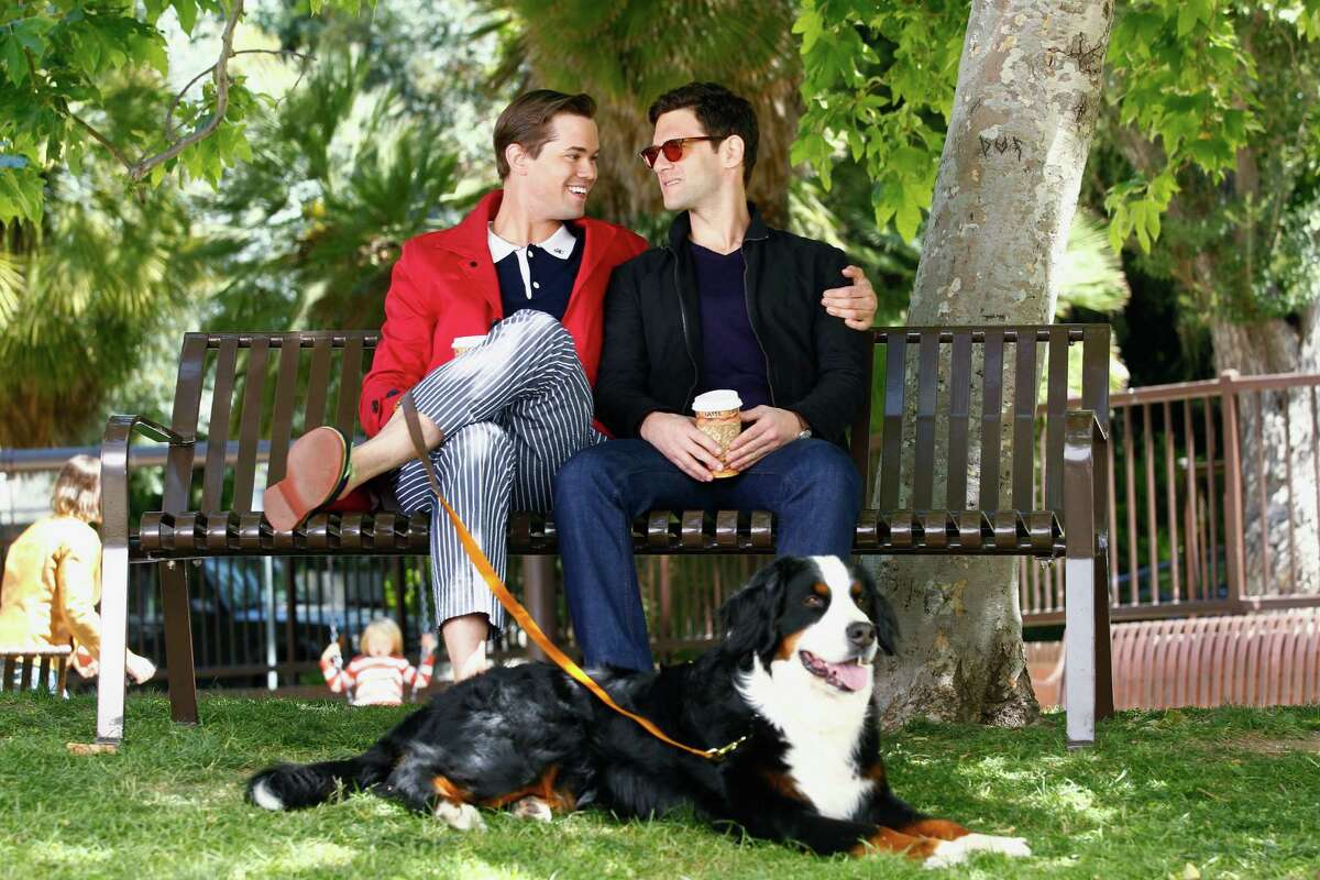 """This image released by NBC shows Andrew Rannells as Bryan, left, and Justin Bartha as David in a scene from """"The New Normal,"""" premiering Sept. 11, 2012 at 9:30p.m. EST on NBC. A Mormon church owned NBC affiliate in Utah has rejected """"The New Normal,"""" the sitcom about a single mother's journey through life as a surrogate for a gay couple. NBC introduced the sitcom to American audiences earlier this month in a two-minute preview during coverage of the London Olympics. """"For our brand, this program simply feels inappropriate on several dimensions, especially during family viewing time,"""" says Jeff Simpson, CEO of KSL parent company Bonneville International, which is owned by The Church of Jesus Christ of Latter-day Saints. (AP Photo/NBC, Trae Patton)"""