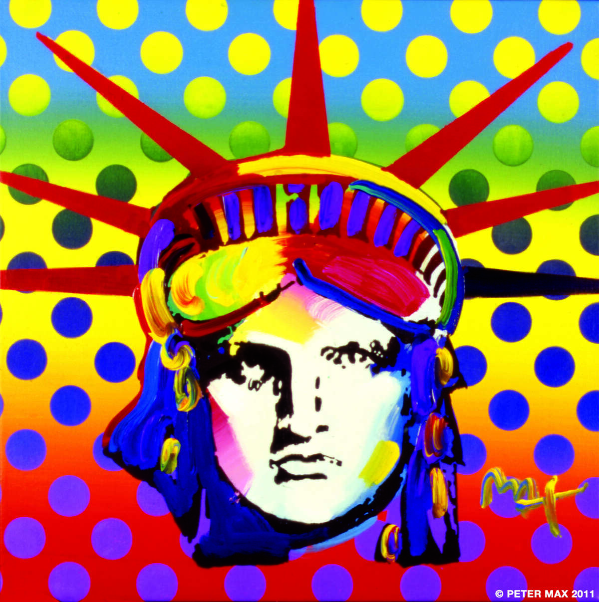 """""""Liberty Head"""" by legendary pop artist Peter Max will be on view in an exhibition of the artist's work at the Geary Gallery in Darien Thursday, Sept. 6 through Sunday, Sept. 9."""