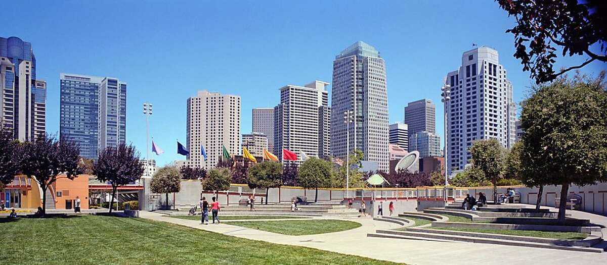 The proposed tower at 706 Mission St. is 550 feet tall and would rise at the east edge of Jessie Square, across from Yerba Buena Gardens. This image shows the current view from the playground of the gardens, above Howard Street.