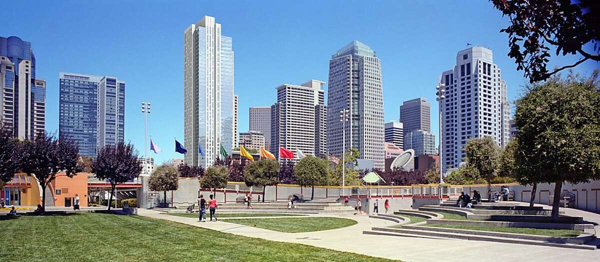 The proposed tower at 706 Mission St. is 550 feet tall and would rise at the east edge of Jessie Square, across from Yerba Buena Gardens. This image shows the view from the playground of the gardens, above Howard Street, as it would appear with if the tower were built as now planned.