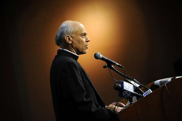Newly appointed Archbishop Coridileone speaks during a press conference held at St. Mary's Cathedral in San Francisco Friday July 27th, 2012.  Archbishop-elect Salvatore J. Cordileone, 56, was named the Metropolitan Archbishop of San Francisco by Pope Benedict XVI, the Vatican announced early Friday. Photo: Michael Short, Special To The Chronicle