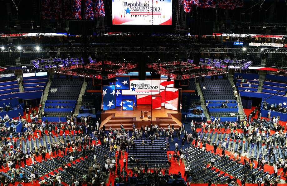 TAMPA, FL - AUGUST 27:  A general view of people on the arena floor at the start of the Republican National Convention at the Tampa Bay Times Forum on August 27, 2012 in Tampa, Florida. The RNC is scheduled to convene today, but will hold its first full session tomorrow after being delayed due to Tropical Storm Isaac.  (Photo by Spencer Platt/Getty Images) (Spencer Platt / Getty Images)