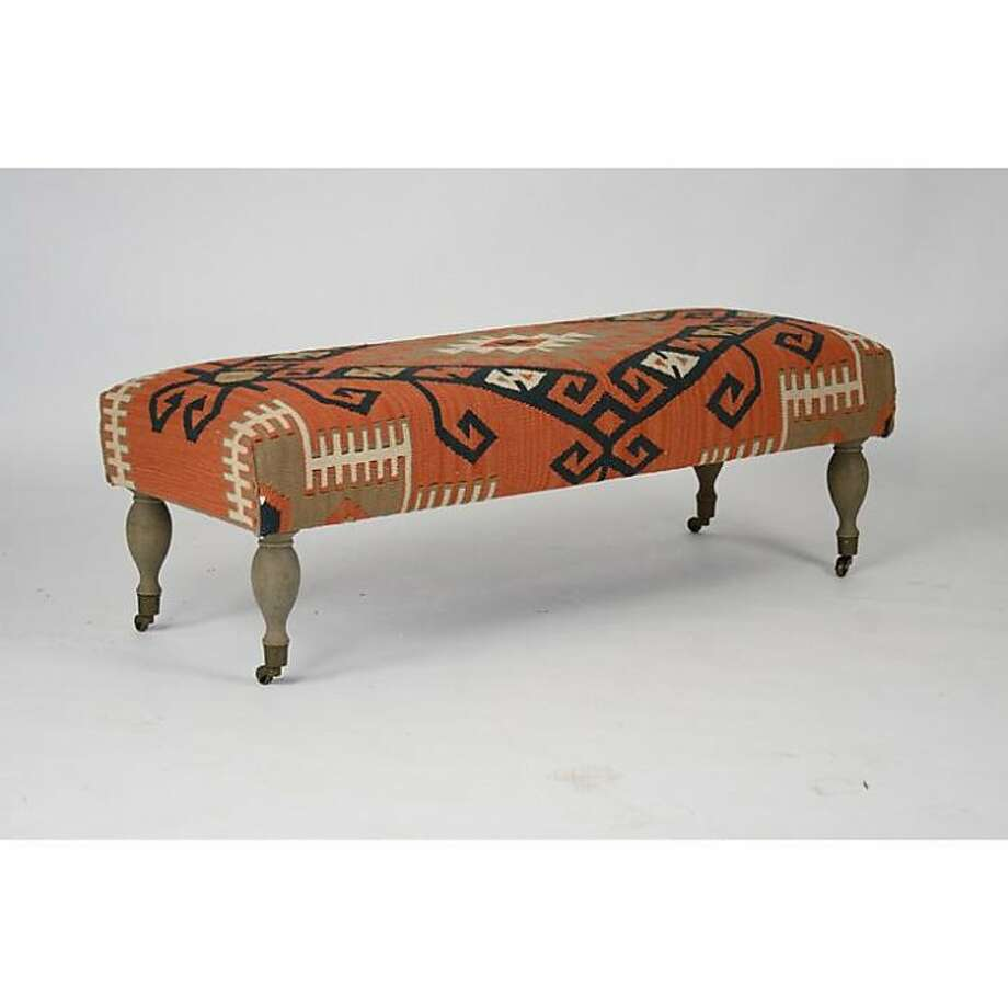 $1,249: Zentique Kilim Bench-Red from Candelabra (shopcandelabra.com) Photo: Candelabra