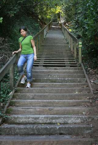 Accessible at Old Mill Creek near downtown Mill Valley, the Dipsea Steps begin the popular Dipsea Trail Run, which leads all the way to Stinson Beach.  (Mark Constantini / The Chronicle)