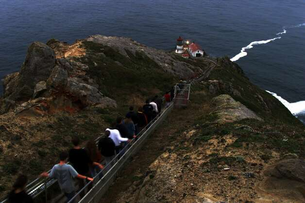 Visitors to the Pt. Reyes lighthouse, built in 1870, have to navigate over 308 steps down (and then back up).  (Chris Stewart / SFC)