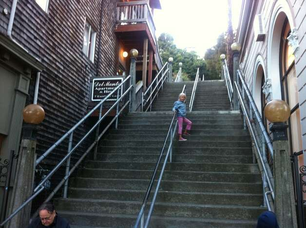 Sausalito has many stairways, but one of the most popular is at Excelsior Lane. From there, walkers can actually head all the way up to the Headlands.  (Annika Toernqvist / SFGate)