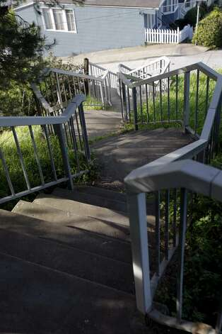 The stairs at Peralta Avenue in Bernal Heights. Bernal Heights has more stairways than any other area in the city.  (Thomas Levinson / The Chronicle)