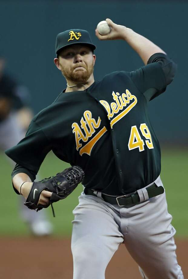 Oakland Athletics starting pitcher Brett Anderson delivers against the Cleveland Indians in the first inning of a baseball game, Monday, Aug. 27, 2012, in Cleveland. (AP Photo/Mark Duncan) Photo: Mark Duncan, Associated Press