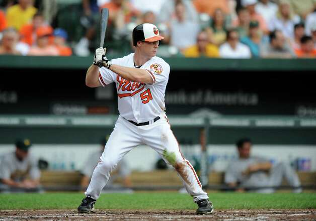 Baltimore Orioles' Lew Ford bats during a MLB baseball game against the Oakland Athletics, Sunday, July 29, 2012, in Baltimore. (AP Photo/Nick Wass) Photo: Nick Wass, FRE