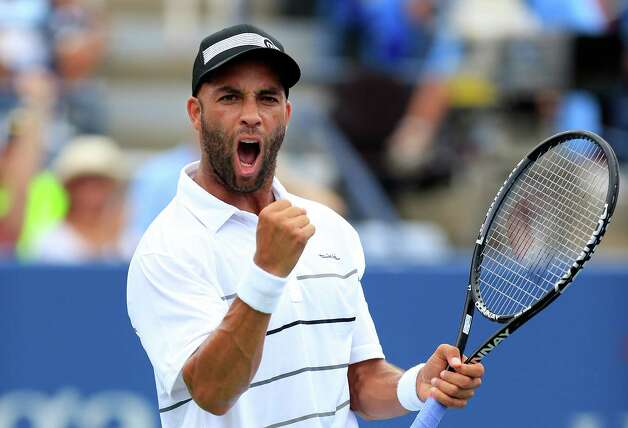 James Blake of the United States celebrates a point during his men's singles first round match against Lukas Lacko of Slovakia during the 2012 U.S. Open at the USTA Billie Jean King National Tennis Center on August 27, 2012 in the Flushing neighborhood, of the Queens borough of New York City.  (Photo by Chris Trotman/Getty Images for USTA) Photo: Chris Trotman, Getty Images For USTA / 2012 Getty Images