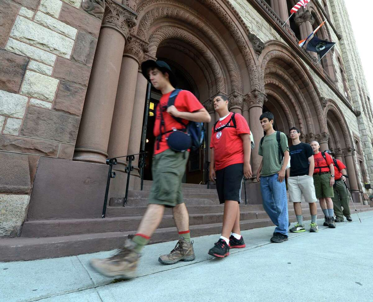 Members of Boy Scout troops 2 and 46 head off for a roundtrip trek to Bennington from Albany, N.Y. Aug. 27, 2012 to recreate a 1912 hike by Albany boy scouts.(Skip Dickstein/Times Union)