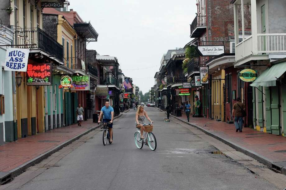 New Orleans' famed Bourbon Street was virtually empty on Monday as Tropical Storm Isaac neared hurricane strength and targeted an area near where Hurricane Katrina struck seven years ago. Photo: Chris Graythen / 2012 Getty Images