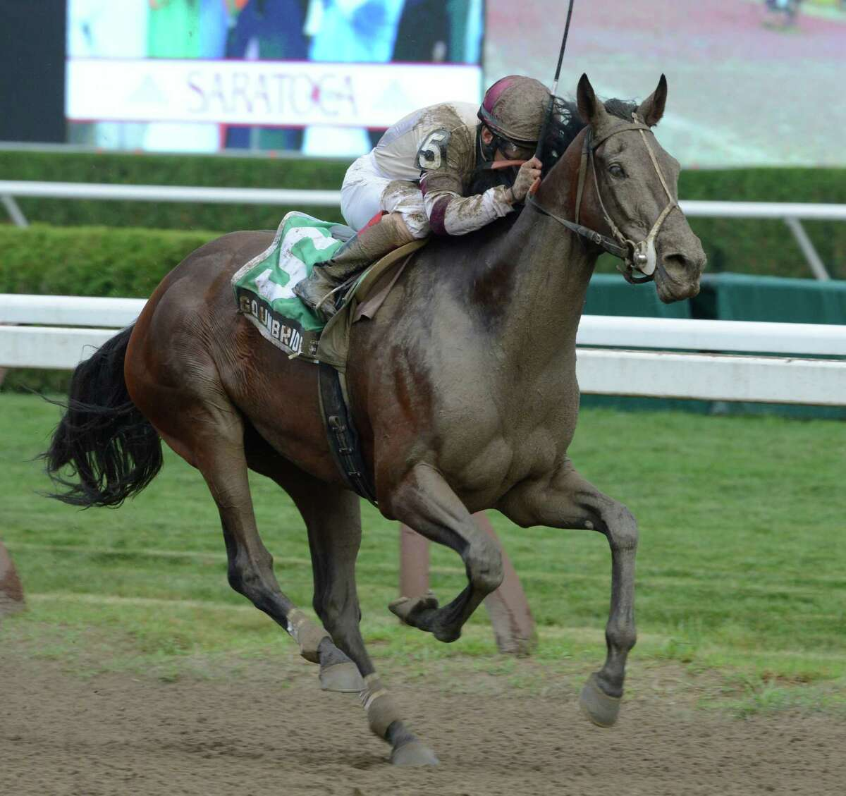 Go Unbridled with jockey Junior Alvarado wins the 9th running of The Saratoga Dew at the Saratoga Race Course in Saratoga Springs, N.Y. Aug. 27, 2012. (Skip Dickstein/Times Union)
