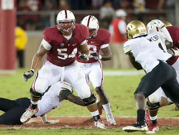 Stanford offensive lineman David Yankey (54) will start, but exactly where? His versatility gives the Cardinal options. Photo: David Bernal, Stanford Athletics