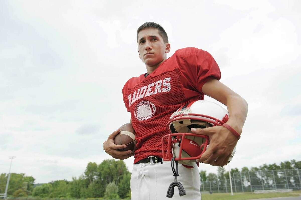 Mechanicville High School football quarterback, Sal Cimino poses for a photograph on Monday, Aug. 27, 2012 in Mechanicville, NY. (Paul Buckowski / Times Union)