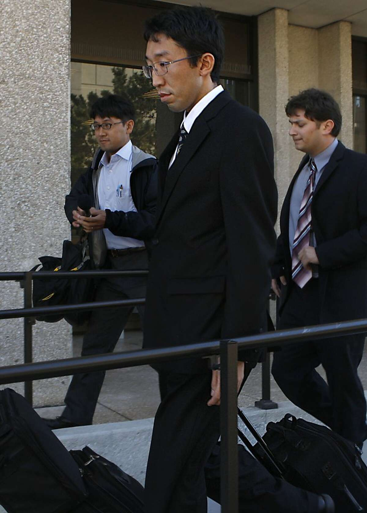 Vice consul for Japan Yoshiaki Nagaya, accused of beating his bride of 18 months, leaving his hearing in Redwood City, Calif., on Monday, August 27, 2012.