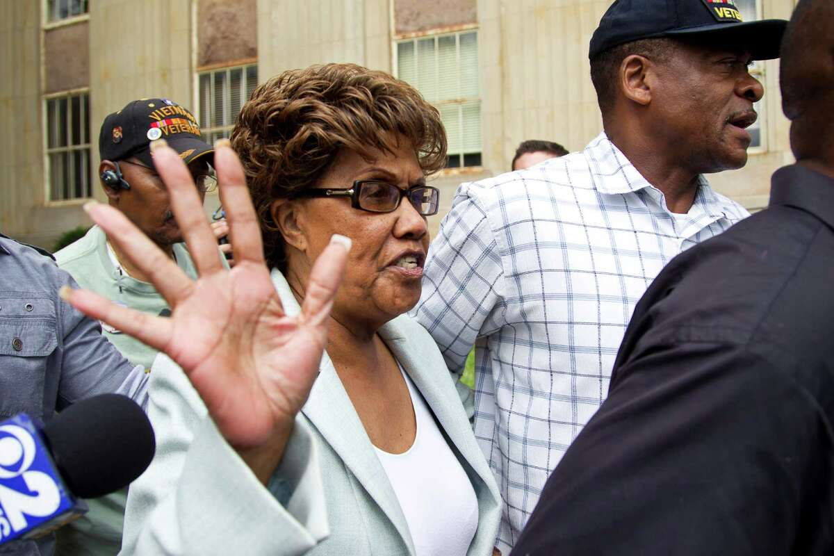 State Sen. Shirley Huntley leaves the Nassau County court complex in Mineola, N.Y., Aug. 27, 2012. Huntley is accused of taking part in a scheme involving the misuse of money intended for a nonprofit group that was supposed to help guide parents through the New York City school system. (Uli Seit/The New York Times)