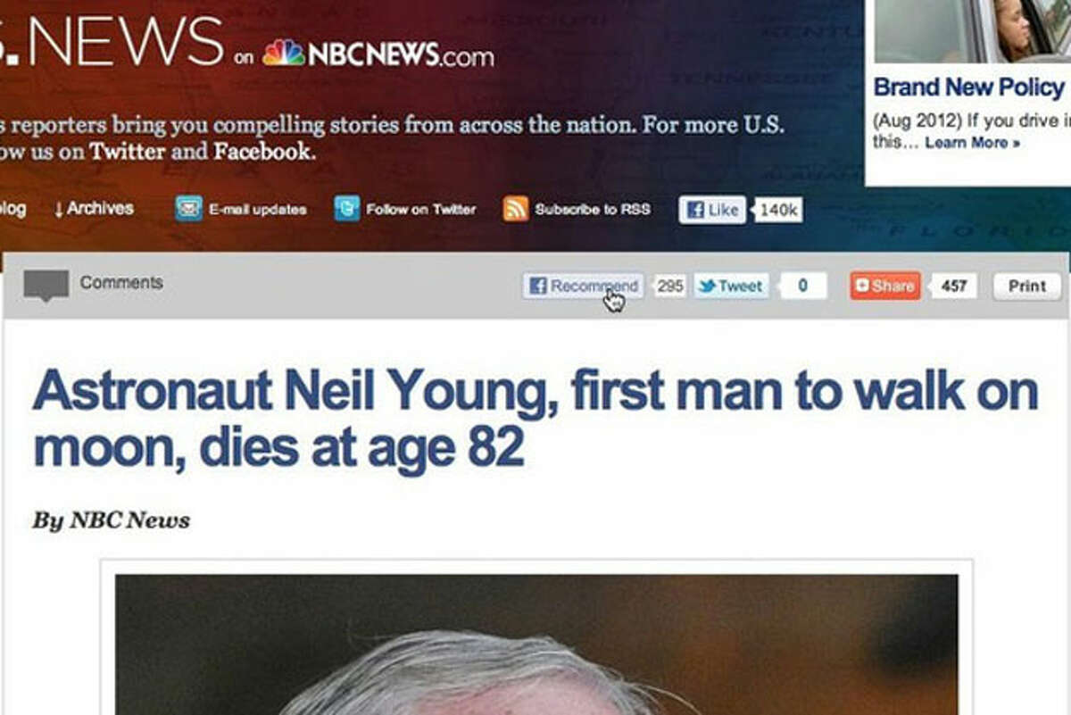 """Screen grab from NBCNews.com, reporting the death of Neil Armstrong as """"Neil Young."""""""
