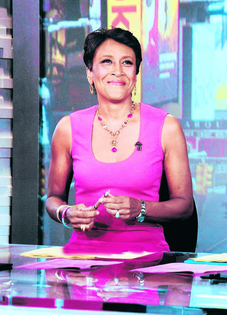 """This Aug. 20, 2012 photo released by ABC shows co-host Robin Roberts during a broadcast of """"Good Morning America,"""" in New York. On Monday's edition of the ABC News wakeup program, Roberts made official the start date for what's being called her """"extended medical leave."""" Roberts told viewers in July that she has MDS, a blood and bone marrow disease once known as preleukemia. She says she will be hospitalized next week to prepare for the bone marrow transplant that will take place about 10 days after that. (AP Photo/ABC, Donna Svennevik) Photo: Donna Svennevik / American Broadcasting Companies,"""
