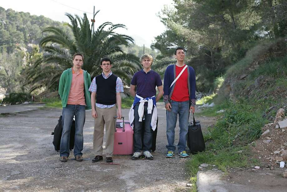 "Joe Thomas (left), Simon Bird, James Buckley and Blake Harrison are ""The Inbetweeners"" in the film adapted from the British TV series. Photo: Wrekin HIll Entertainment"
