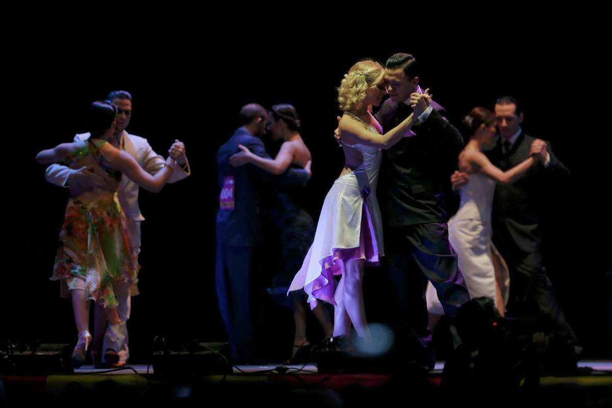 Russia's tango couple Dmitry Vasin, right, and Taya Finenkova compete during the 2012 Tango Dance World Cup salon finals in Buenos Aires, Argentina, Monday, Aug. 27, 2012. Couples from around the world competed in the finals Argentina's annual tango competition, the highlight of a two-week festival which this year honored Astor Piazzolla, the legendary composer and bandoneonista who revived the genre and infuriated purists by blending tango with rock music in the 1970s. Vasin and Finenkova finished fifth in the competition.