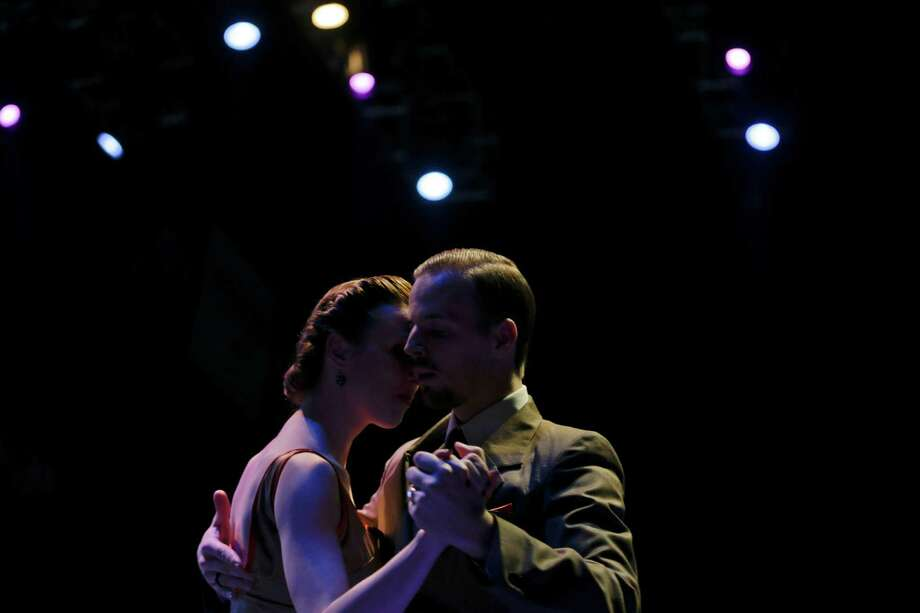 Belgium couple Liz De Vuyst and Yannick Vanhove dance while competing at the 2012 Tango Dance World Cup salon finals in Buenos Aires, Argentina, Monday, Aug. 27, 2012. Argentina's annual tango competition, the highlight of a two-week festival which this year honored Astor Piazzolla, the legendary composer and bandoneonista who revived the genre and infuriated purists by blending tango with rock music in the 1970s. Photo: Natacha Pisarenko, AP / AP
