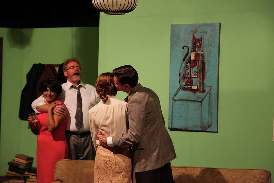 "Gloria Sanchez-Molina (clockwise from left), David Vonnelly, Brad Adams and Sarah Nixon appear in AtticRep's staging of ""Who's Afraid of Virginia Woolf?"" Courtesy Jonathan Moore"
