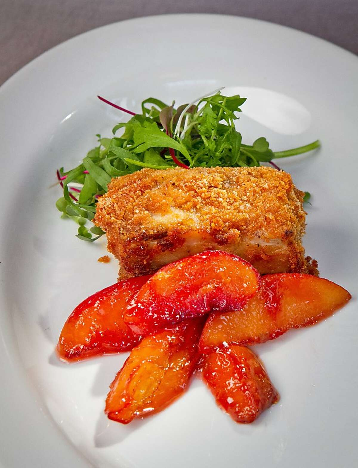 The Dijon Pork Belly with Peach Chutney at Foreign Cinema in San Francisco, Calif., is seen on Saturday, August 18th, 2012.