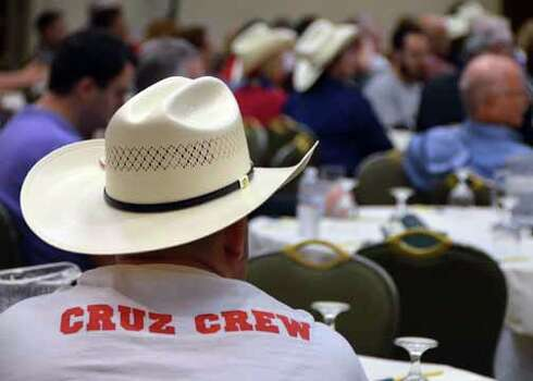 "Supporters of Ted Cruz's bid for retiring Sen. Kay Bailey Hutchison's seat in the U.S. Senate are showing their pride at the Republican National Convention. Here, one Texan's t-shirt proclaims him part of the ""Cruz Crew."" (Jennifer A. Dlouhy / Houston Chronicle)"