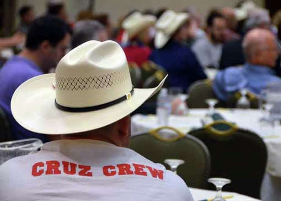 """Supporters of Ted Cruz's bid for retiring Sen. Kay Bailey Hutchison's seat in the U.S. Senate are showing their pride at the Republican National Convention. Here, one Texan's t-shirt proclaims him part of the """"Cruz Crew."""" (Jennifer A. Dlouhy / Houston Chronicle)   (Jennifer A. Dlouhy / Houston Chronicle)"""
