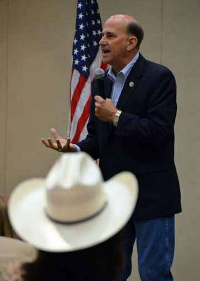 Rep. Louie Gohmert urges Texas delegates and guests at the Republican National Convention on Monday, Aug. 27 to maintain their enthusiasm even after the November election is over. (Jennifer A. Dlouhy / Houston Chronicle)   (Jennifer A. Dlouhy / Houston Chronicle)