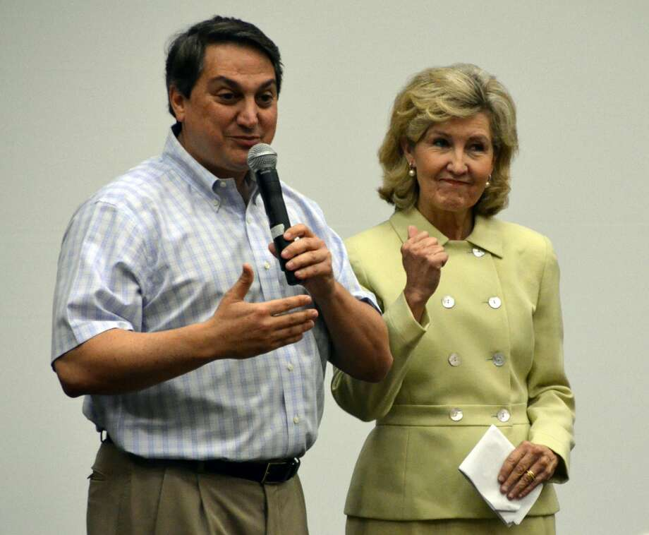 Texas Republican Party Chairman Stephen Munisteri introduces Sen. Kay Bailey Hutchison, R-Texas, at a delegation meeting at the Republican National Convention in Tampa. (Jennifer A. Dlouhy / Houston Chronicle)   (Jennifer A. Dlouhy / Houston Chronicle)