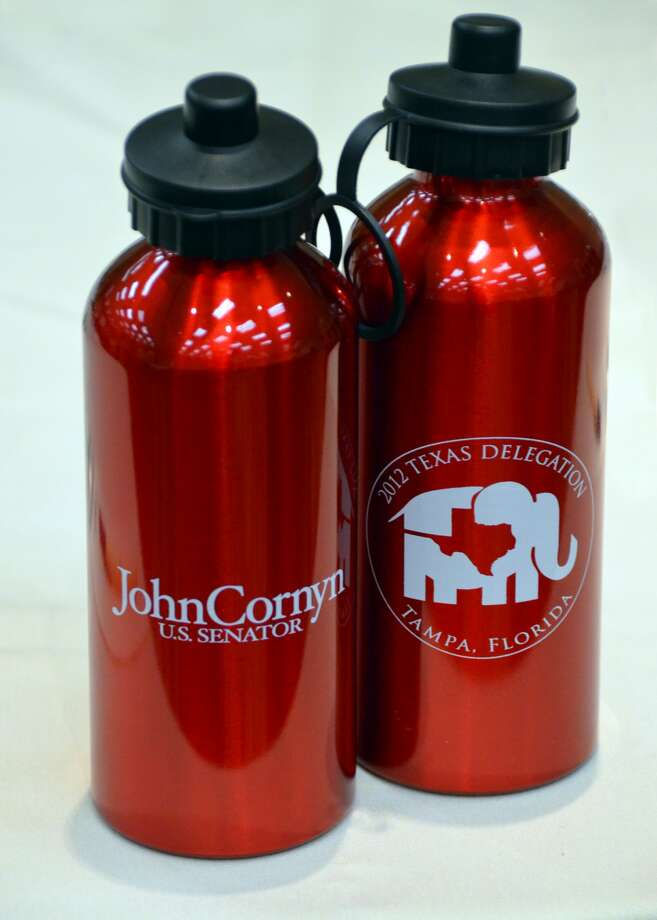 Texas delegates arrived at a meeting Monday morning to find this swag: water bottles from Sen. John Cornyn, R-Texas. (Jennifer A. Dlouhy / Houston Chronicle)   (Jennifer A. Dlouhy / Houston Chronicle)