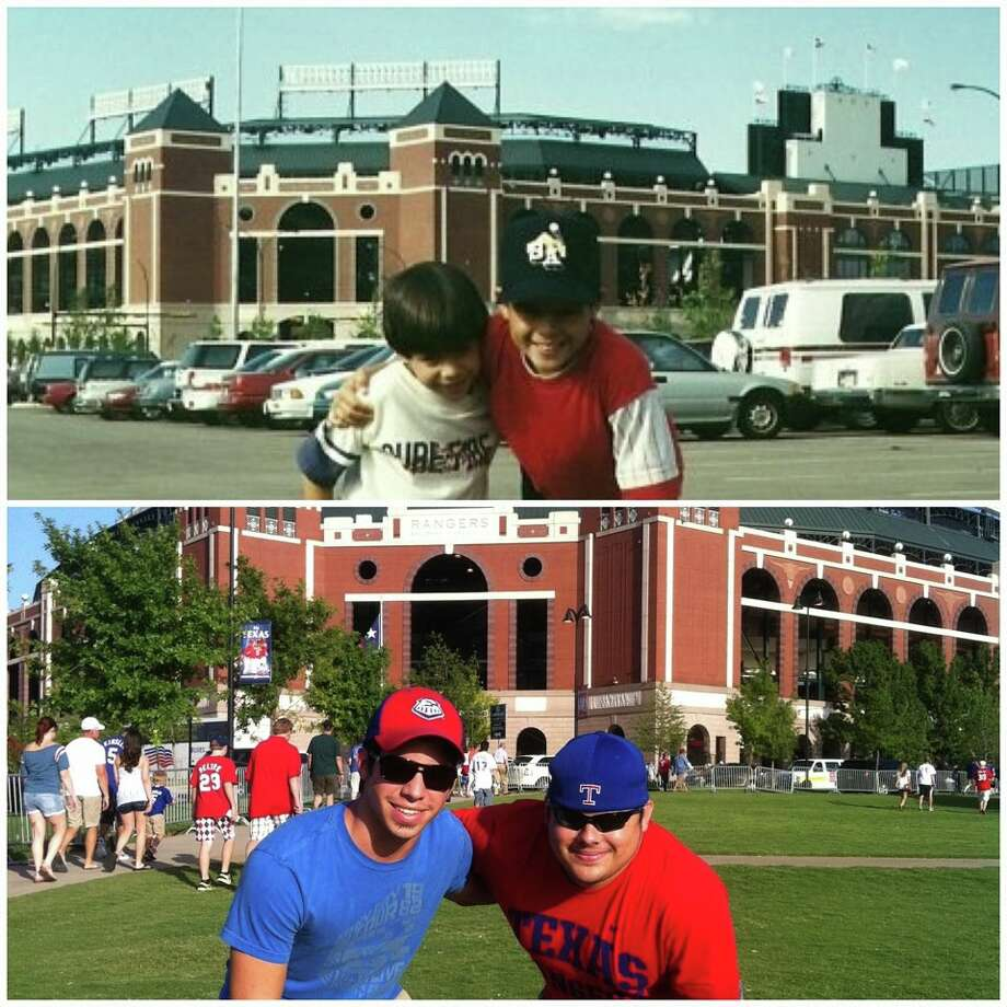 Top: July 28, 1994, brothers Michael and Drew Saenz at Texas Rangers Ballpark in Arlington, Texas.   Birthday present from their dad. Bottom: July 28, 2012, back at Texas Rangers game in Arlington, Michael and Drew celebrating birthdays 18 years later. Thanks, Dad! -- Barbara Durand-Hollis Photo: Durand-Hollis, Reader Submission