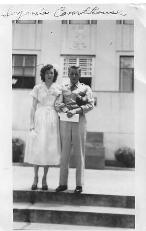 In 1951 Bobby Jones and Margaret Stark drove to Seguin to get married. The Justice of the Peace was Archie Hector. They had their picture taken on the steps of the Courthouse. Photo: Bobby Jones, Reader Submission