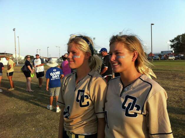 In 2011, Brittany Stone and Courtney Tietze were on the O'Connor High School softball team that went to the state finals. Brittany's mom, Laura, wore the Then photo, made into a button, throughout the girls' playing careers, snapping the Now picture in a moment of serendipity when they were seniors. Today, Courtney attends Blinn College while Brittany plays ball for Our Lady of the Lake University. Photo: Then & Now (Stone)
