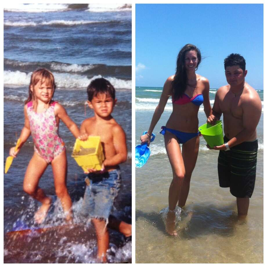 Then: Chris Trevino 3 and cousin Jamie Hart 2, building sandcastles at North Padre Island, Texas in 1992. Now: Chris Trevino 23 and cousin Jamie Hart 22, during a visit to North Padre Island, Texas July 4th 2012. Photo: Then & Now (Trevino)