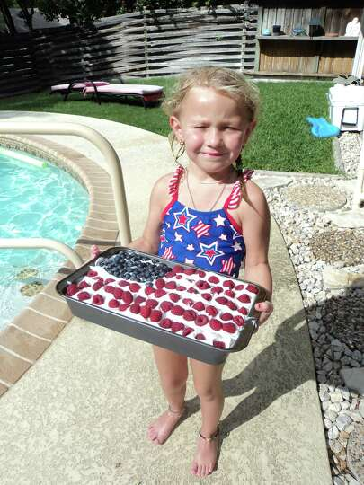 Brianna Bocquin, granddaughter of Karen Bocquin, celebrates the Fourth of July in 2012.