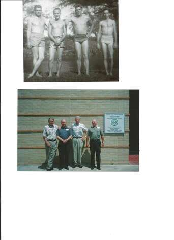 These four friends grew up in Mirando City, Texas. After graduating in 1948, they attended San Marcos College (University). The first picture was taken in 1950 at the river in San Marcos. Fifty years later (2005) at a reunion in Mirando City, their picture was taken again in the same pose. These guys are still friends. Left to right: Bobby Finch (Sweeney, TX) Jack Moore (Victoria, TX) Herbert Danmier (Boerne, TX) and H. Y. Sonny Gayle (Concan, TX). Photo: Norma Gayle, Reader Submission