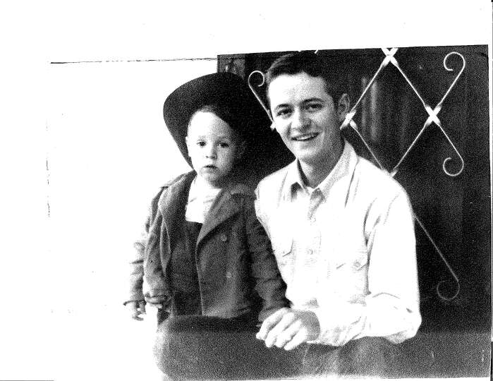 Everitt Mahon age 18 and his nephew Scott Mahon, about 3, photographed in Kerrville in 1943
