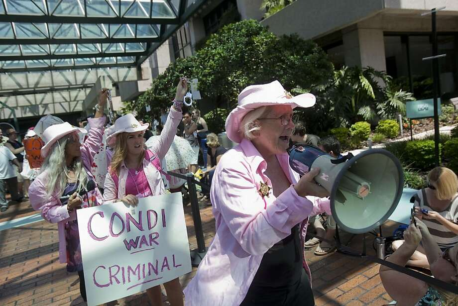TAMPA, FL - AUGUST 28:   Protesters from Code Pink gather outside the Straz Center for the Performing Arts during the National Republican Convention on August 28, 2012 in downtown Tampa, Florida. The Code Pink protesters were on hand to perform a citizen's arrest on Former Secretary of State Condoleezza Rice for her involvement in the U.S. lead wars in Afghanistan and Iraq. Photo: Edward Linsmier, Getty Images