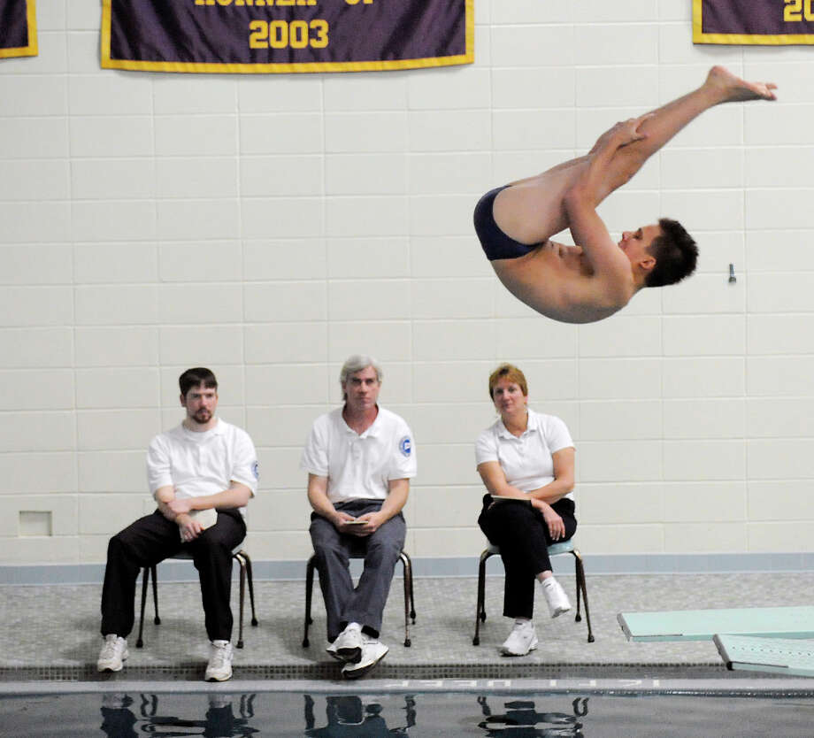Tanner Blank of Staples High School during the FCIAC Diving championships at Westhill High School in Stamford, Friday, Match 2, 2012. Photo: Bob Luckey / Greenwich Time