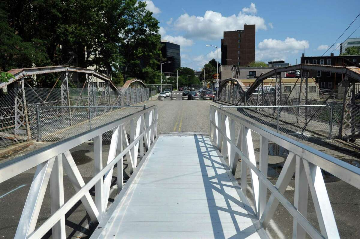 The bridge at the intersection of Main, Clinton and Mill River Streets is closed to vehicles on Tuesday, August 28, 2012.
