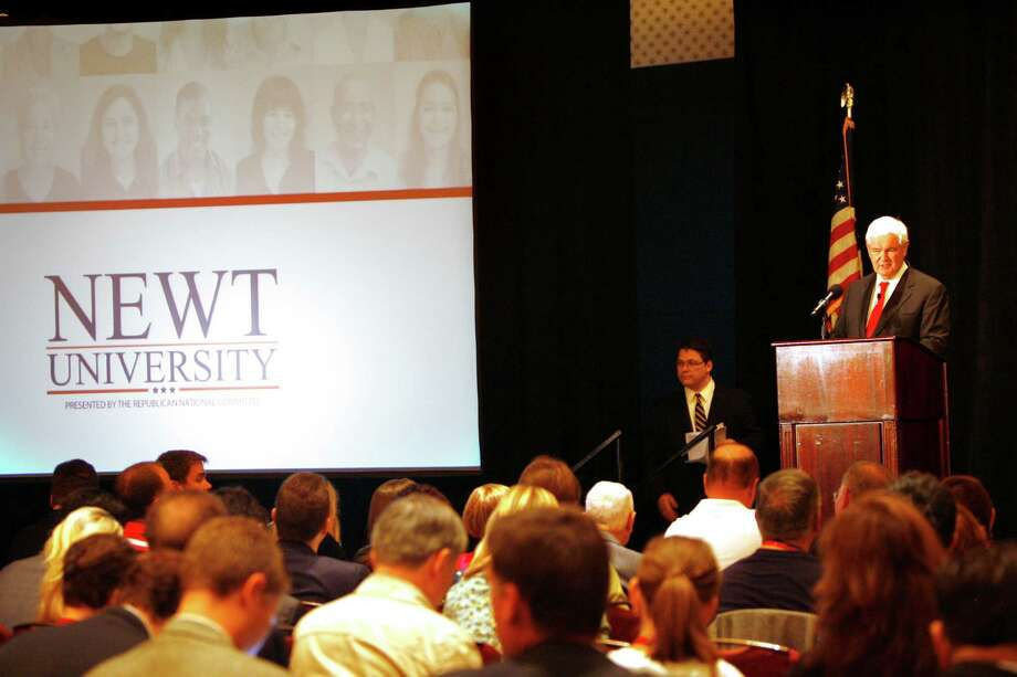 "Speaking at his RNC policy seminar dubbed ""Newt University,"" Newt Gingrich accused President Obama of tearing up Medicare. Photo: Skip O'Rourke, McClatchy-Tribune News Service / Tampa Bay Times"