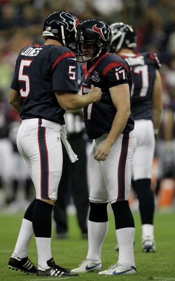 Houston Texans kicker Shayne Graham (17) celebrates after kicking a field goal with punter Donnie Jones (5) during the first quarter of an NFL football game at Reliant Stadium on Saturday, Aug. 18, 2012, in Houston. Photo: Brett Coomer, Houston Chronicle / © 2012  Houston Chronicle