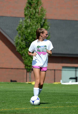 Darien girls soccer captain Kristy Gilbert runs a drill during soccer practice at Darien High School on Tuesday, Aug. 28, 2012. Photo: Amy Mortensen / Connecticut Post Freelance
